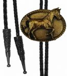 24ct Gold Plated Horse Oval Bolo Tie. Code BTWW21G